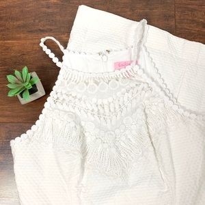 Lilly Pulitzer white pearl lace neck shift dress☕️